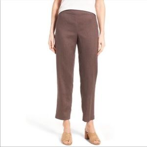Eileen Fisher Organic Linen Ankle Pant Brown XS